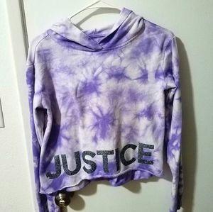 Justice purple tie dye crop top hooded sweater